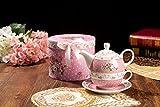 Teekanne und Tasse, Vintage, Rose, Viktoria, Porzellan, in Geschenkbox, keramik, rose, 15x15cm