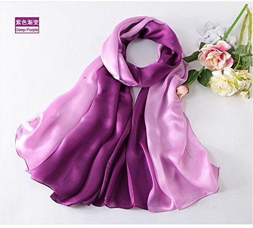 YRXDD Hangzhou Seide schweren Satin Steigung Farbe Seide Schal Hand bemalt Regenbogen Schal,lila Steigung,185cm -