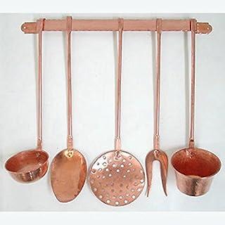 Arterameferro 5-teiliges Kochlöffel-Set aus Kupfer mit Wandhalterung
