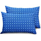 "Ahmedabad Cotton 2 Piece Cotton Pillow Cover Set - 18""x27"", Blue"
