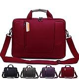 Laptop Umhängetasche aus weichem Nylon mit Schaumstoff gepolsterte Aktentasche, abnehmbarer Schultergurt - für 15,6-Zoll-Notebooks, Rot - von Rawboe