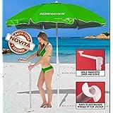 Athenamare Ombrellone da Spiaggia Antivento con Manovella Protezione UV50+ (Verde/silver)