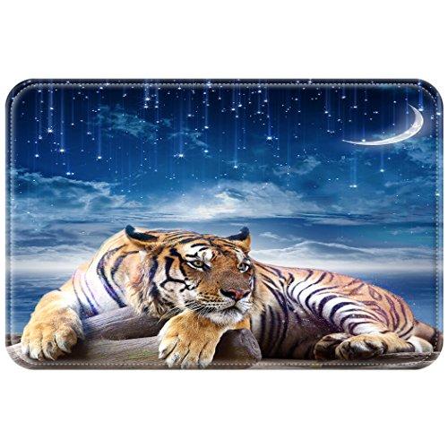 YISUMEI 50x80 cm Teppich Türvorleger Sauberlaufmatte Fußabtreter Fußball Tiger Sterne Mond Himmel