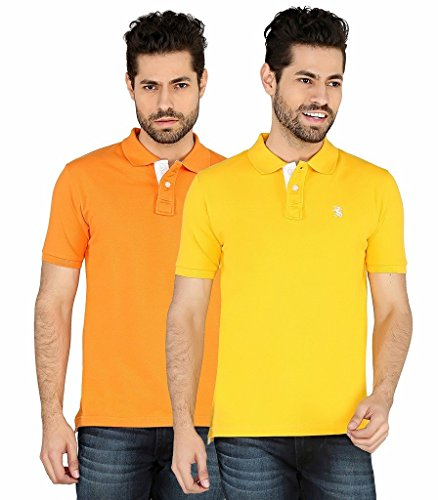 The Cotton Company Luxury Solid Polo Tshirt For Men (pack Of 2) - Yellow & Lt Orange