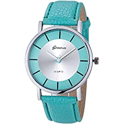 Familizo Women Fashion Retro Dial Leather Analog Quartz Wrist Watches Mint-Green
