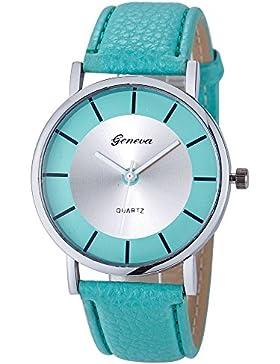 Amcool Uhr Damen Armbanduhr Cool Retro PU Leder Quartz Uhrenarmbanduhr Armband (Minzgrün)