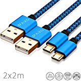 2 x 2m Nylon PS4 Ladekabel für Playstation 4 Controller, Zwei blau-Schwarze Micro USB Kabel mit Stoffmantel & Aluminium Steckern