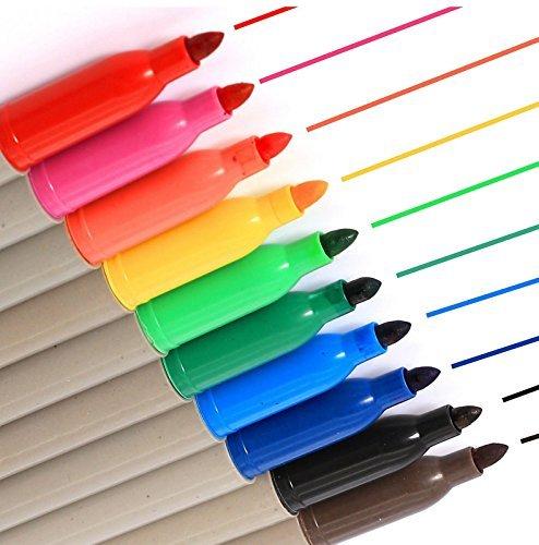 multi-coloured-permanent-markers-felt-tips-black-scrapbooking-art-pens-10-pack
