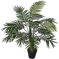 Homescapes Mini-palmier artificiel vert feuillage dense en pot 100 cm