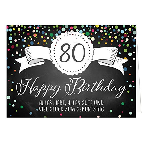Große Glückwunschkarte XXL (A4) zum 80. Geburtstag - Tafel-Look Konfetti/mit Umschlag/Edle Design Klappkarte/Glückwunsch/Happy Birthday Geburtstagskarte/Extra Groß/Edle Maxi Gruß-Karte