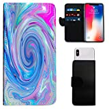 i-Tronixs BLACKBERRY AURORA MULTY COLOR MARBLE WALLET CASE