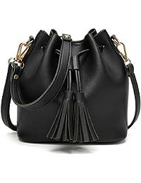 BOZEVON Borsa secchiello in Pelle Donna spalla mano shopper bucket bag con  tracolla regolabile 809294699fa