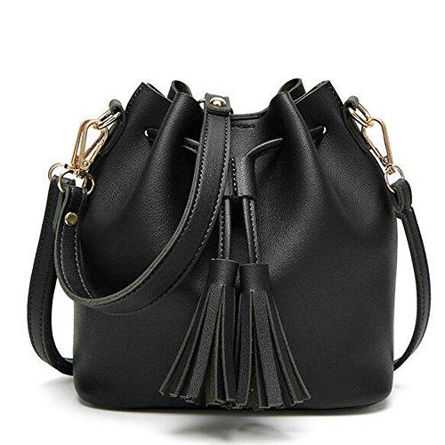 BOZEVON Borsa secchiello in Pelle Donna spalla mano shopper bucket bag con tracolla regolabile - Nero Nero