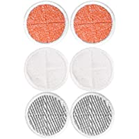 KEEPOW Almohadillas de Reemplazo para Aspiradora Bissell Spinwave, Incluye 2 Almohadillas Suaves + 2 Almohadillas de Fregar + 2 Almohadillas de Fregar Rústico