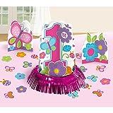 Deko 1. Geburtstag 1 Jahr Mädchen Set mit Streudeko und 3 Tischaufstellern Tischdekoration Birthday Girl Tischschmuck Kindergeburtstag Tafeldeko Kinderparty Tischdeko 1. Geburtstag