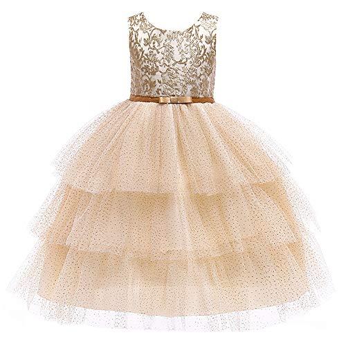 Kostüm Ball Kleid Dance - Kinderhochzeits-Party-Kleid 2019 Mädchen Neujahr Kleid Spitzenkleid Mädchen Prinzessin Kleid Kinder Röcke Weihnachten Kinder Abschlussball Dance Ball Geburtstagskleid ( Farbe : Gold , Größe : 110cm )