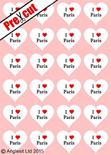 24 STÜCK, VORGESTANZT, I-LOVE-PARIS-HERZEN, ESSBAR, AUS OBLATENPAPIER, VORGESTANZT, HOCHZEIT, PARTY-DEKORATION, (Paris Birthday Party Dekorationen)