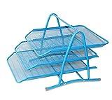 Tiedribbons&Reg; Metal Mesh Desktop Organizer Tray File Rack With 3 Tiers(Blue)