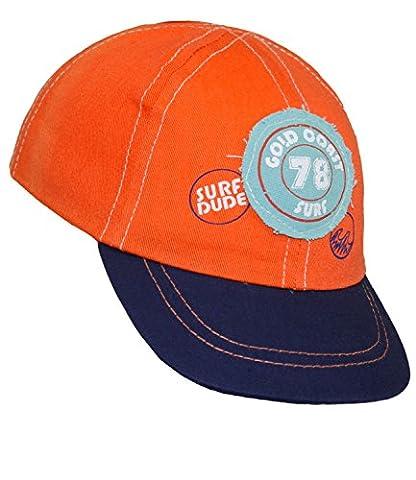 EveryHead Babybasecap Jungenbasecap Basecap Baseballcap Schirmmütze Sommermütze Sommercap Aufnäher Gummizug für Babys (EH-10018-S17-BJ0-43-47) in Orange, Größe 47 inkl. EveryHead-Hutfibel