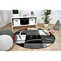 Brilliant - Alfombra de diseño moderna tendencia - Redonda - Rojo gris - 3 tamaños