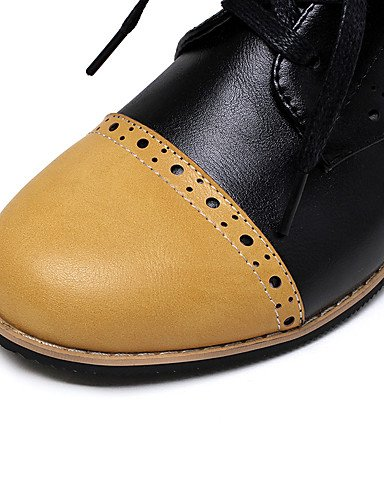 WSS 2016 Chaussures Femme-Extérieure / Bureau & Travail / Habillé-Jaune / Beige / Orange-Gros Talon-Talons / Confort / Bout Arrondi-Talons- yellow-us6.5-7 / eu37 / uk4.5-5 / cn37