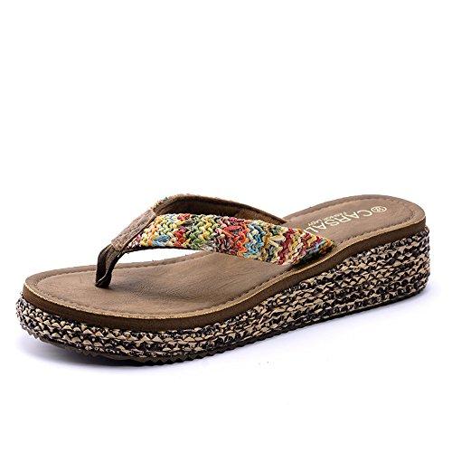 Estate Sandali Pantofole di nuovo modo di estate delle signore Pantofole sottili inferiori antiscivolo Pantofole fredde della spiaggia con 3 colori Colore / formato facoltativo #3