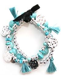 Marc Labat - 12E76 - Ethnic Chic - Bracelet Femme - Métal argenté - Verre - Perle - 20 cm