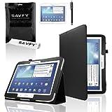 """SAVFY® 3en1 Housse en Luxe PU Cuir pour Samsung Galaxy Tab 3 10.1"""" P5200/P5210 + FILM D'ECRAN + STYLET OFFERTS! - Fuschia Housse de Protection Etui Smart Cover Case avec rabat/stand de positionnement support et la Fonction Sommeil/Réveil Automatique Pour Tablette Samsung Galaxy TAB 3 10.1 10"""" P5200 / P5210 / P5220 / GT-P5210ZWAXEF Tablet"""