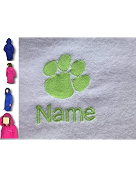 Albornoz con capucha infantil con un Paw Print Logo y nombre de su elección en color rosa. Edades 2, 4, 6, 8,...