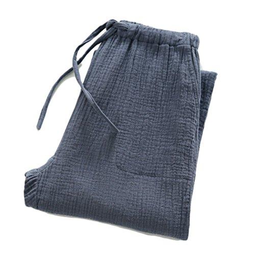 VENIMASEE Damen Plüsch Cosy Lose Fleece Leinen Lounge Pyjama Pants M-2XL - Blue