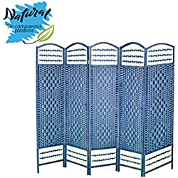 Biombo Separador, Economico, Azul Plegable Cinco Paneles Madera Natural para Dormitorio/salón. 170 X 200 Cm - Hogar y más