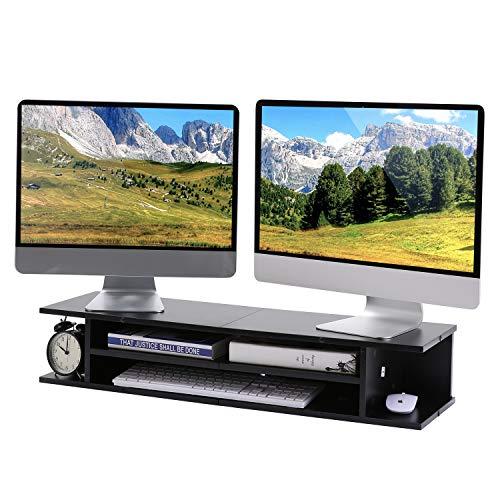 RFIVER 2er Set Schreibtisch Organizer Druckerständer Computer Monitor Ständer Monitorerhöhung Bücherregal Schwarz DO1003