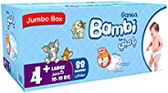 Sanita Bambi, Size 4+, Large+, 10-18 kg, Jumbo Box, 88 Diapers