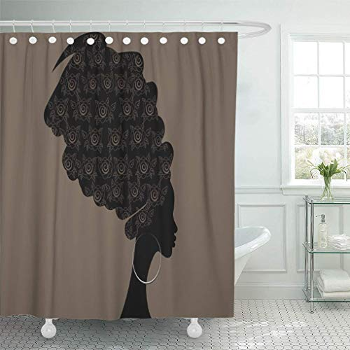 Presock Duschvorhänge, Shower Curtain 60 x 72 inches Portrait Beautiful African Woman in Traditional Turban Kente Head Dashiki Black Set with Hooks Decorative Polyester Fabric Bathroom Shower Curtains
