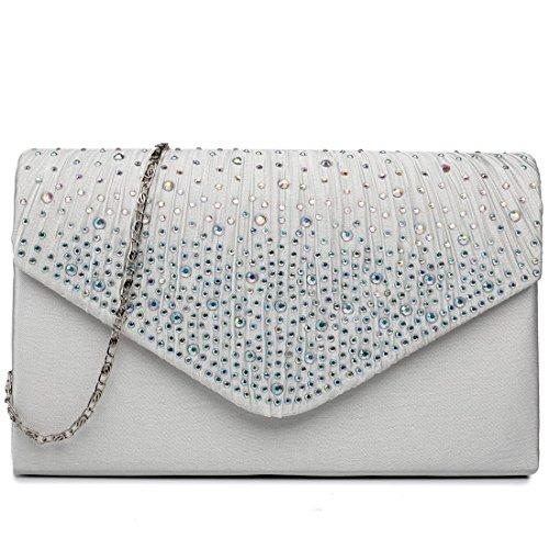 Miss Lulu, pochette da donna con fibbia decorata di diamanti, ideale per matrimoni e serate fuori Multicolore (beige)