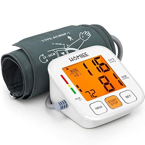 HOMIEE Oberarm Blutdruckmessgerät, vollautomatische Blutdruck- und Pulsmessung am Oberarm, Universalmanschette (22-36 cm), mit Arrhythmie-Anzeige, mit einem hintergrundbeleuchteten LED-Bildschirm