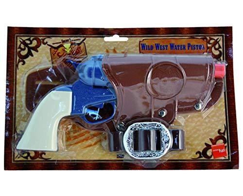 (Confettery - Kostüm Accessoires Zubehör Western Cowboy Wasser-Pistole Gürtel, perfekt für Karneval, Fasching und Fastnacht, Schwarz)