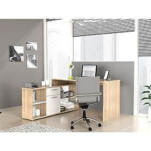 FINLANDEK Bureau d'angle TYÖ 140cm chene blanc
