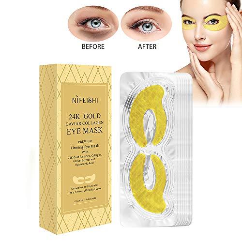 10 Paar Kaviar Augenpads,Augenmaske Gel Hyaluron Collagen,Augen Feuchtigkeit,Augenpflege Gegen Augenringe,Entfernen Taschen Puffiness,Anti-Falten Pads,Gold Eye Mask Patchs