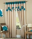 Just Contempo Vorhänge mit Ösen, gefüttert, Motiv Mohnblumen 66x54 inches Teal (Blue Cream beige)