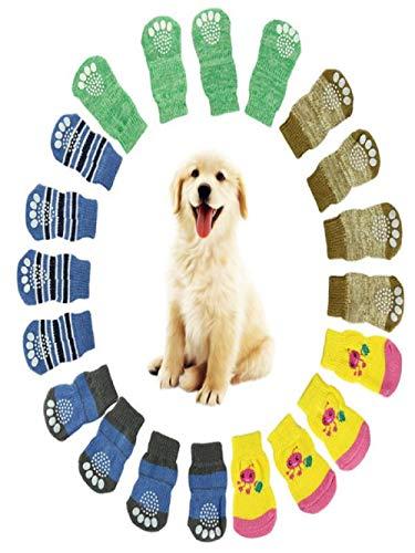 TUDUZ 4 Stücke Haustier Hund Pfotenschutz Hündchen Katze Socken Gestreift Hundesocken(Small,Mehrfarbig) -