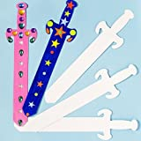 Baker Ross Schwerter aus Pappe - Weiß - zum Bemalen, Dekorieren und Spielen für Kindern - für Karneval und den Kindergeburtstag - 6 Stück