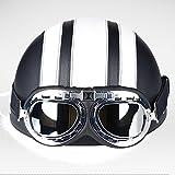 Leder Retro Halbhelm Sommer Helm Harley Motorrad Elektrischen Helm Männer Und Frauen Mit Schutzbrille