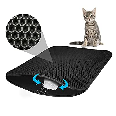 """Cat Litter Mat, Focuspet Kitty Litter Mat Double-Layer Litter Trapper Mat Large Waterproof Honeycomb Non-Toxic Protect Floor and Carpet Easy Clean Cat Little Tray Pad 29.5"""" X 21.65"""""""