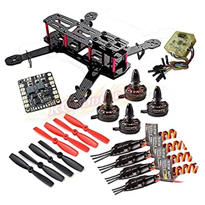 powerday®replacement QAV250 Carbon Quadcopter kit+X2204S 2300KV Motor + BLHeli 12A ESC+CC3D FC +5045 Props+Matek Power Hub Board