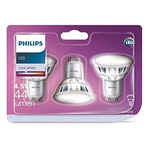 Philips pack 3 focos LED, casquillo GU10, 5 W equivalentes a 50...