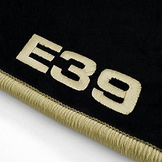 Autoteppich Stylers ATS-Q300_E39-306 Passform Velours-Fußmatten mit Bestickung E39 und Rand in Hellbeige