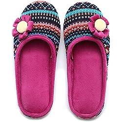 Unisex Slip On Hausschuhe Happy Lily Antislip Pantoletten Strick Fleece Schuhe Vintage Boho Stil für Erwachsene, fuchsia