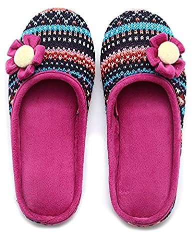 Unisexe Slip on Chaussons Happy Lily Envers antidérapant Mules en maille polaire Chaussures vintage Boho Style pour adulte,