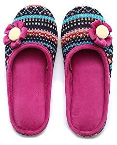 Unisexe Slip on Chaussons Happy Lily Envers antidérapant Mules en maille polaire Chaussures vintage Boho Style pour adulte, fuchsia